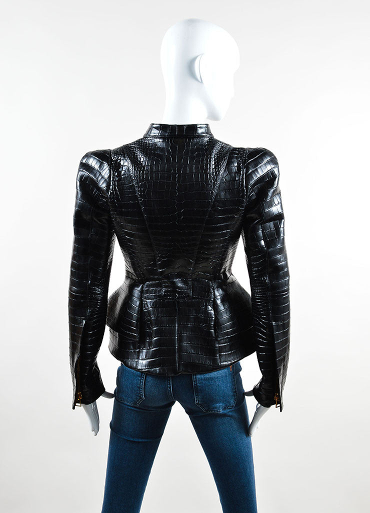 "Tom Ford Black Crocodile Leather Peplum ""Scuba"" Moto Jacket Backview"