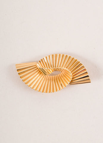 Cartier 14K Gold Thick Single Wave Pin Brooch Frontview
