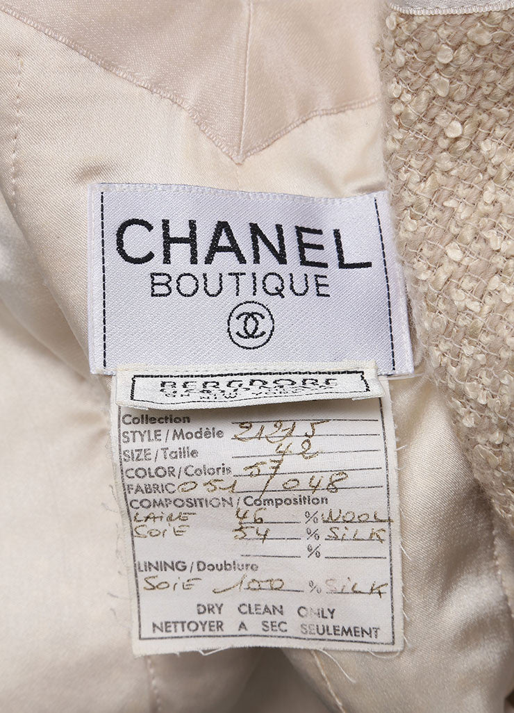 "Chanel Beige Wool and Silk Textured Knit ""CC"" Button Jacket Brand"