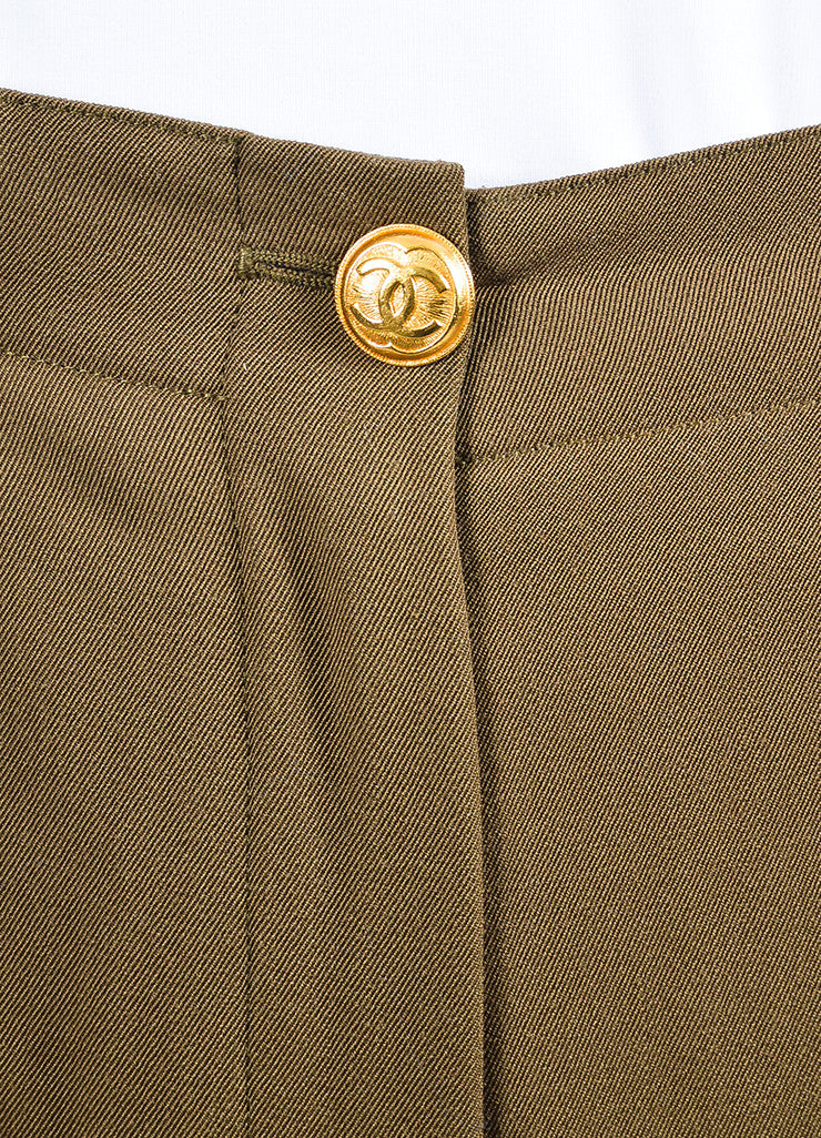 Chanel Green Wool High Rise Straight Leg Trousers Detail