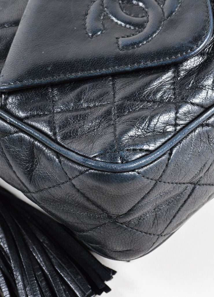 Vintage Chanel Black Leather Quilted Cross Body Bag Detail