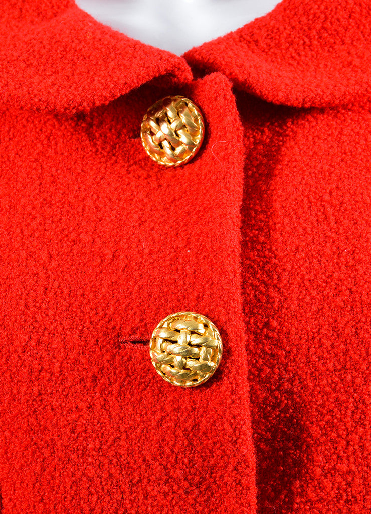 Red Chanel Wool Boucle Tailored Jacket Detail