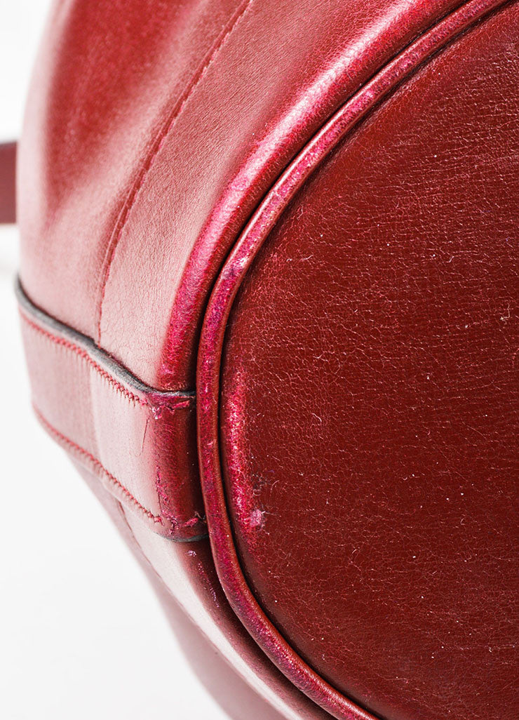 "Hermes Maroon Box Calf Leather ""Market 27cm"" Drawstring Bucket Bag Detail"
