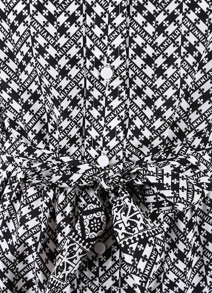 Lanvin Black and White Abstract Print Belted Shirt Dress Detail