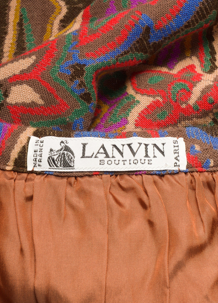 Lanvin Red, Blue, and Brown Floral Paisley Maxi Skirt Brand