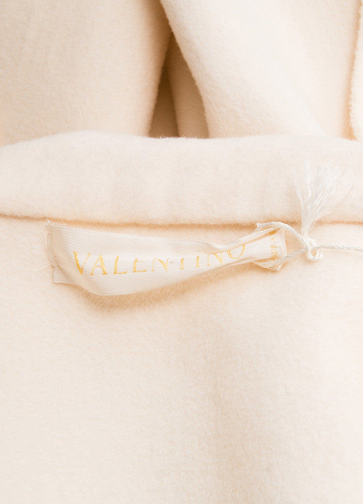 Valentino Cream Wool and Cashmere Open Front Cropped Swing Coat Brand