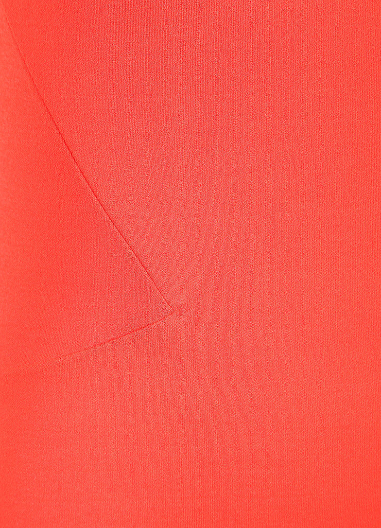 Valenitno Roma Coral Orange Textured Jersey Knit Sleeveless Dress Detail