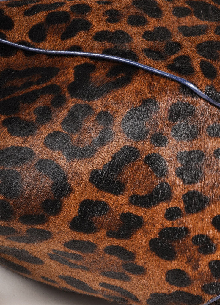 Versace Black and Brown Leopard Print Pony Hair Bowler Bag Detail