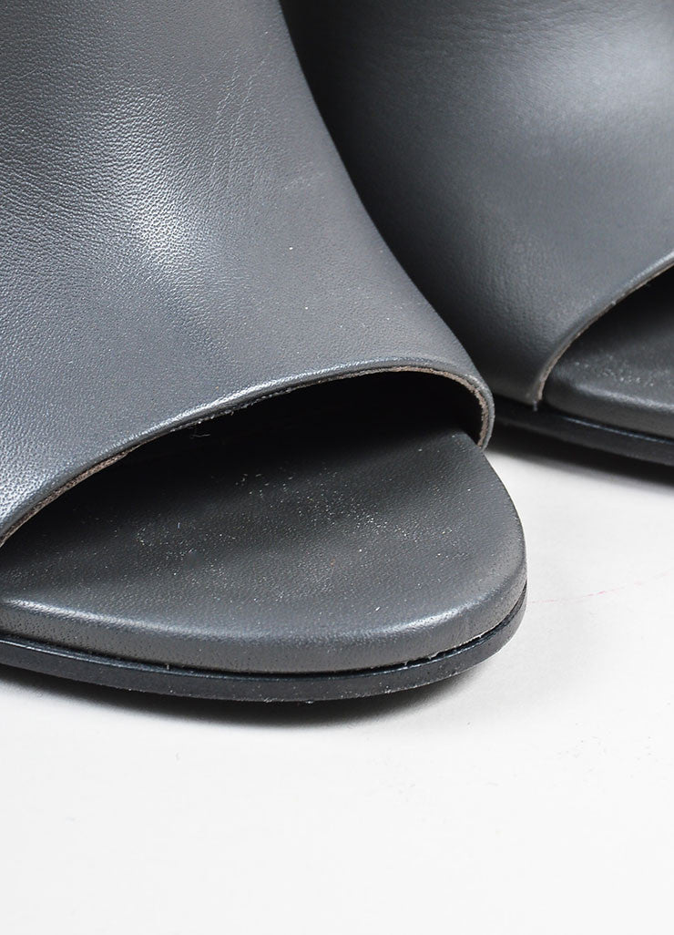 "Graphite Grey Vince Leather ""Brigham"" Ankle Booties Detail"