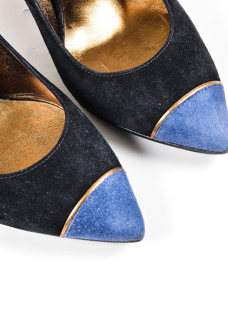Black and Blue Yves Saint Laurent Suede Pointed Cap Toe High Heels Detail