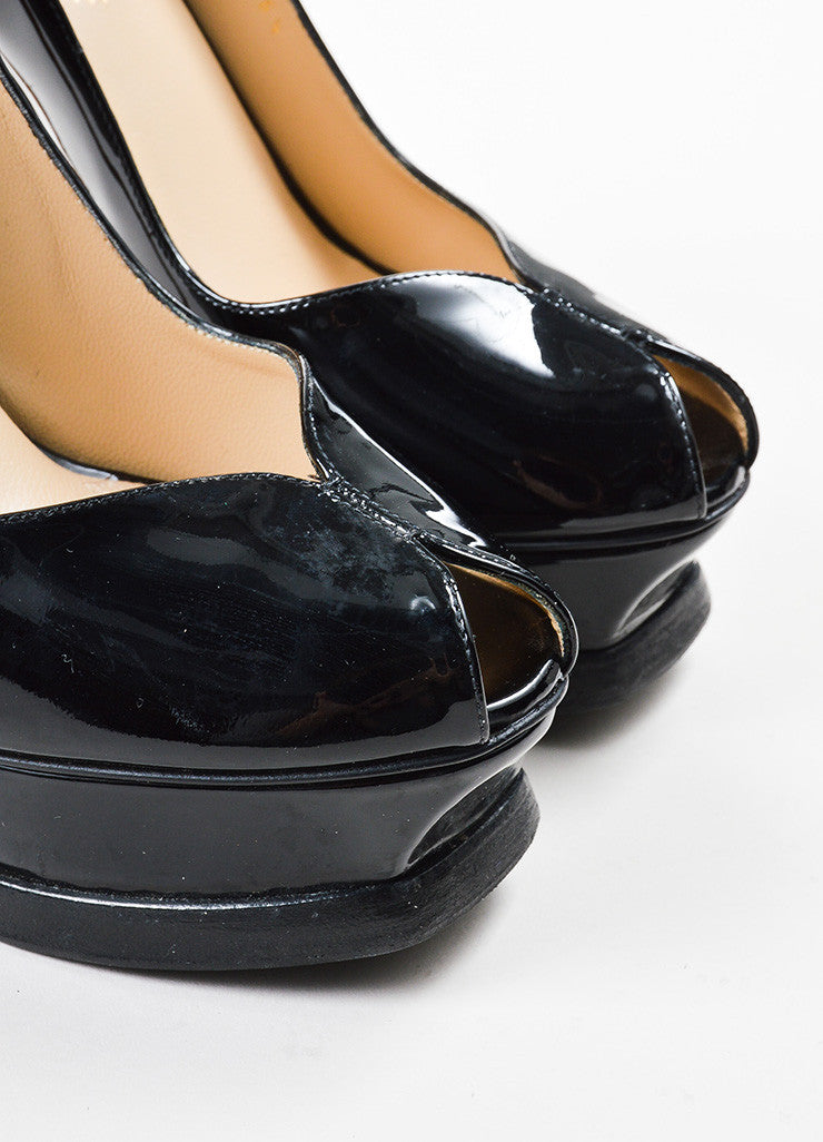 "Yves Saint Laurent Black Patent Leather Mary Jane ""Tribute 105"" Pumps Detail"