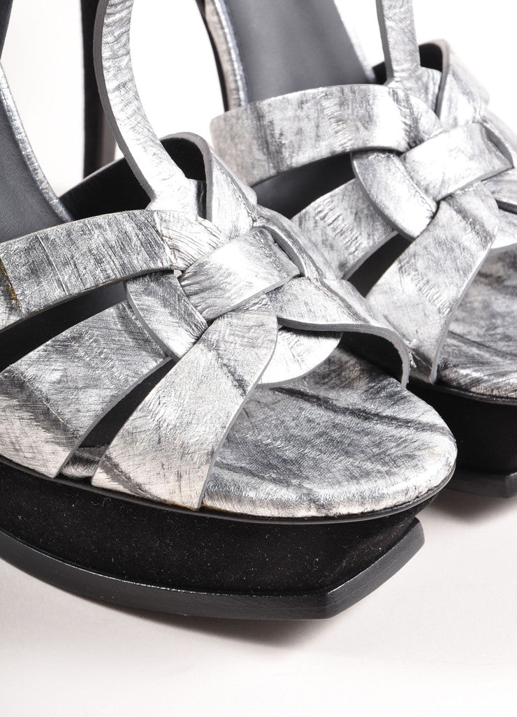 "Yves Saint Laurent Silver and Black Leather ""Tribute"" Sandals Detail"