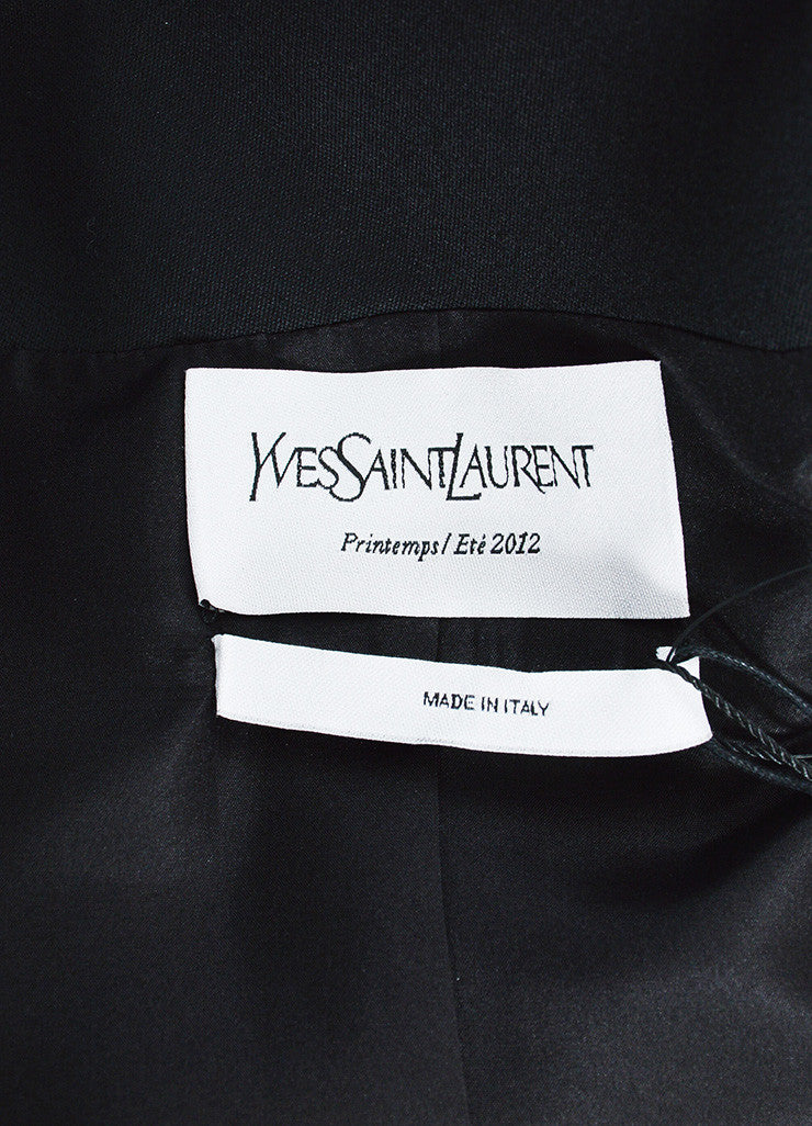Yves Saint Laurent Black Wool Open Front Topper Long Jacket Brand