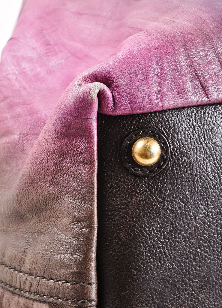 "Yves Saint Laurent Purple Multicolor Leather Ombre ""Easy Sac"" Satchel Bag Detail"