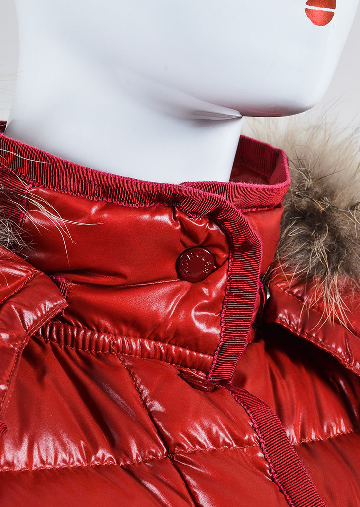"Red Moncler Quilted Down Puffer Fur Trim ""Armoise"" Jacket Detail"
