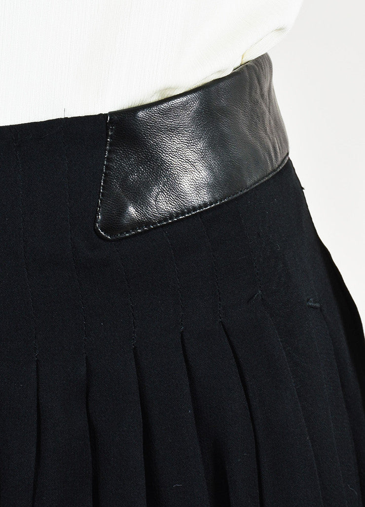 Rag & Bone Black Silk and Leather Sheer Wide Leg Trousers Pants Detail