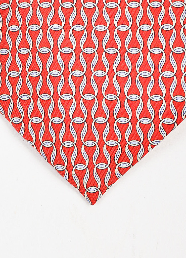 Men's Hermes Red Cream Blue Silk Loop Print Necktie Detail