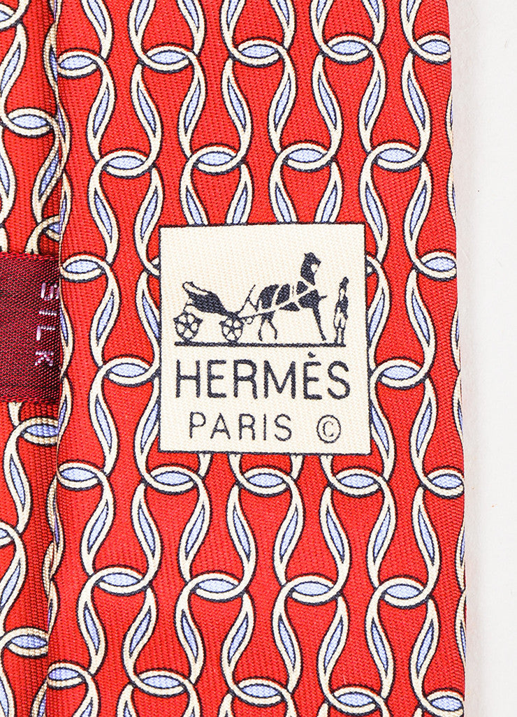 Men's Hermes Red Cream Blue Silk Loop Print Necktie Brand
