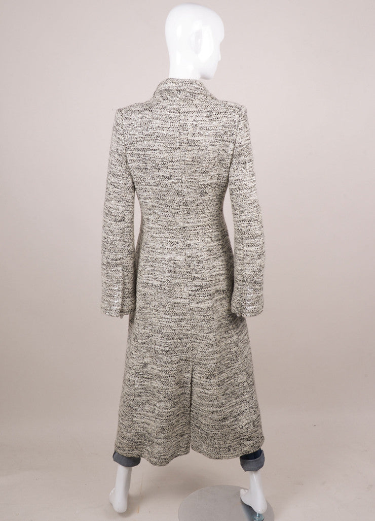 Cream, Black, and Silver Metallic Tweed Knit Long Buttoned Coat
