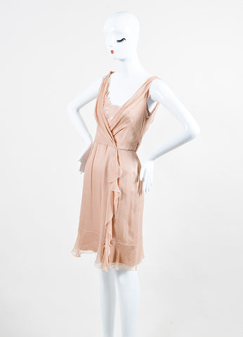 Blush Pink •ÈÀAlberta Ferretti Chiffon Silk Draped Lace Ruffle Trim Sleeveless Dress Sideview