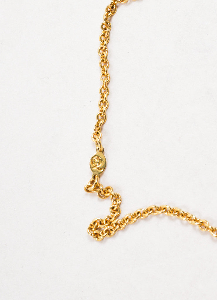 Alexander McQueen Gold Toned Chain Link Rhinestone Skull Pendant Necklace Brand
