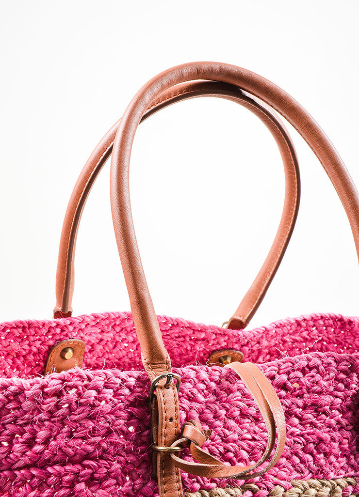 "Balenciaga Pink and Tan Woven Straw Leather Trim ""Panier Basket"" Tote Bag Detail 2"