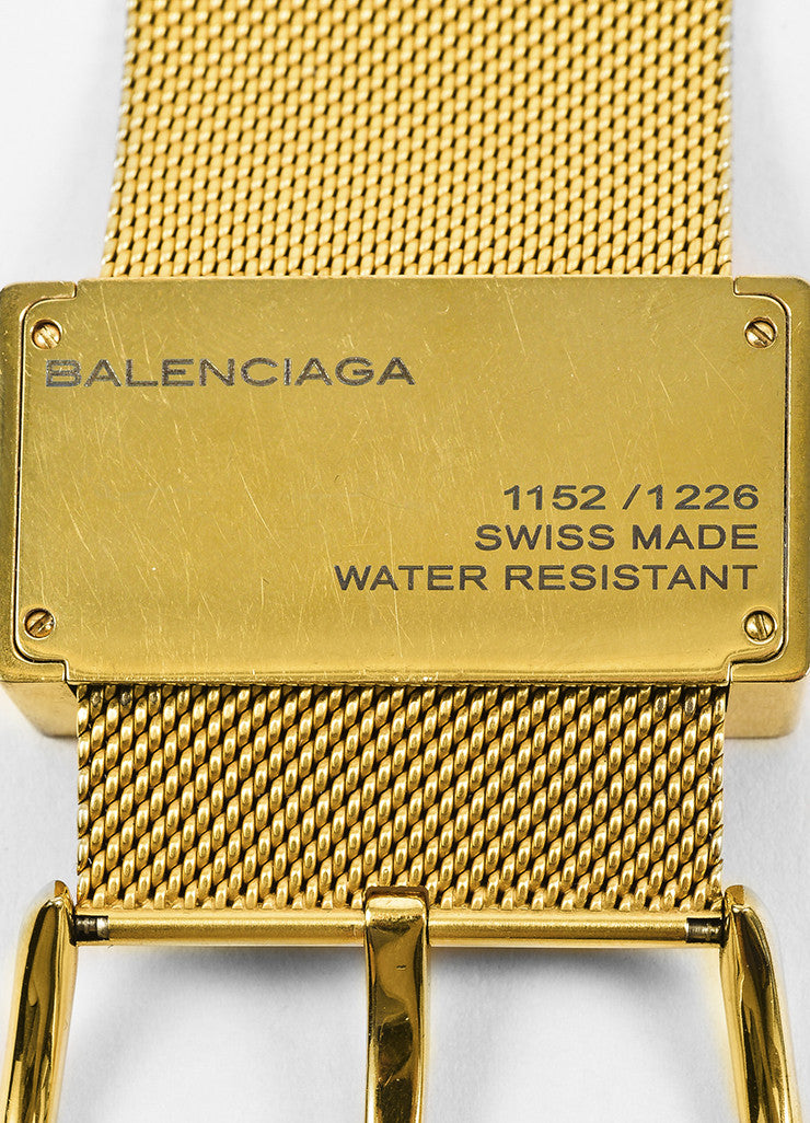 "Balenciaga Gold Toned Wide Mesh Strap Belt Buckle ""Montre Acier"" Quartz Watch Brand"