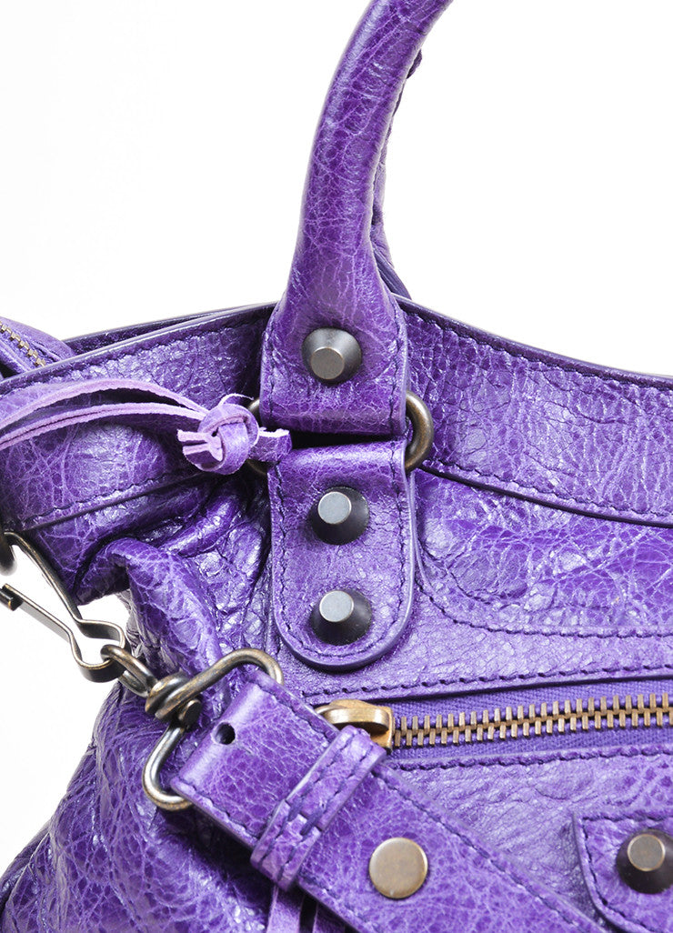 "Purple Balenciaga Leather ""Classic Town"" Moto Bag Detail 2"
