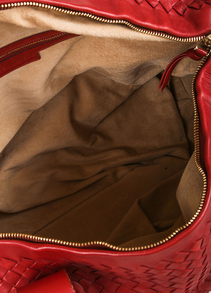 Bottega Veneta Red Leather Intrecciato Duffel Bag Interior