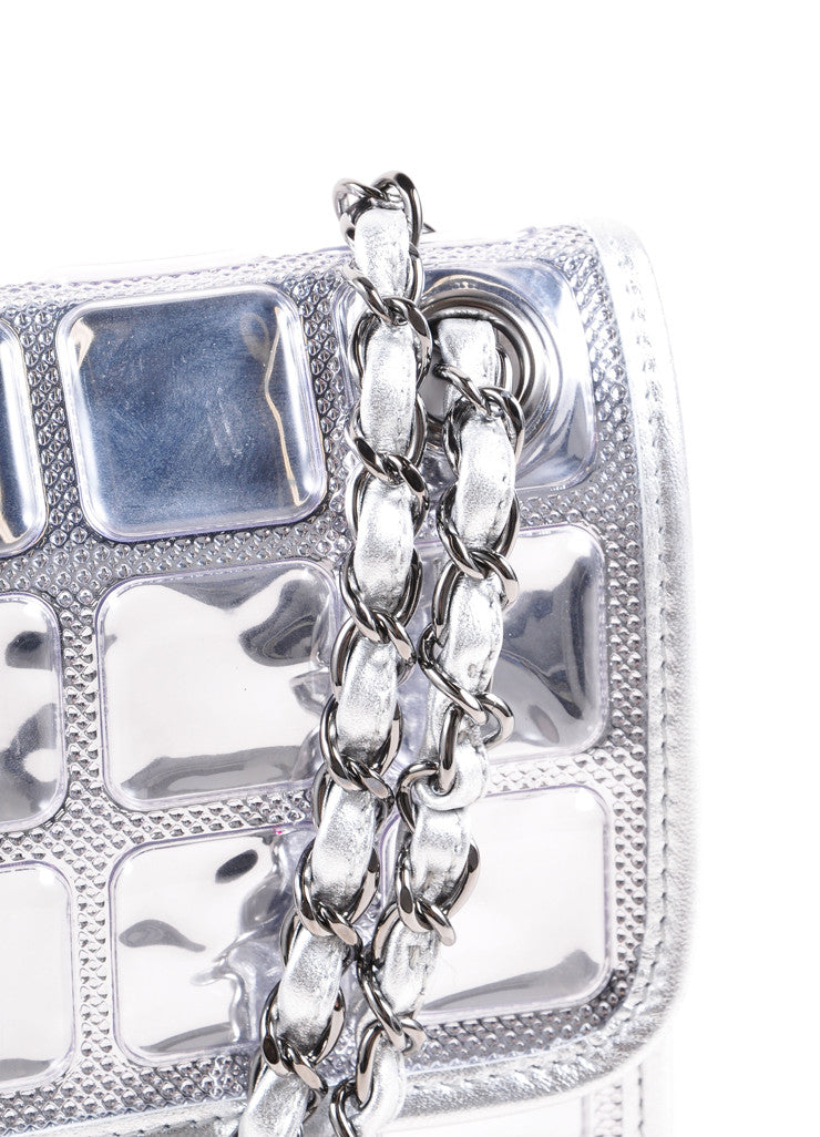 "Chanel Silver Metallic Leather ""Ice Cube"" Classic Flap Shoulder Bag Detail 2"