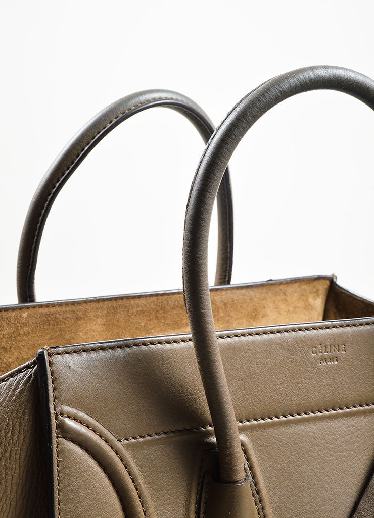 "Olive Green Celine Calfskin Leather Small ""Phantom"" Tote Bag Detail 2"