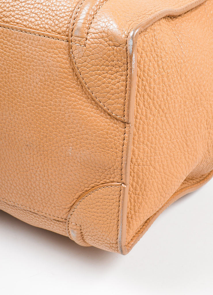"Taupe Brown Celine Drummed Leather Structured Mini ""Luggage"" Tote Bag Detail 2"