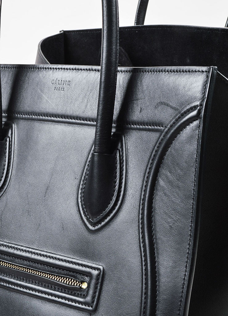 "Black Celine Leather Medium ""Phantom"" Luggate Tote Bag Detail 3"