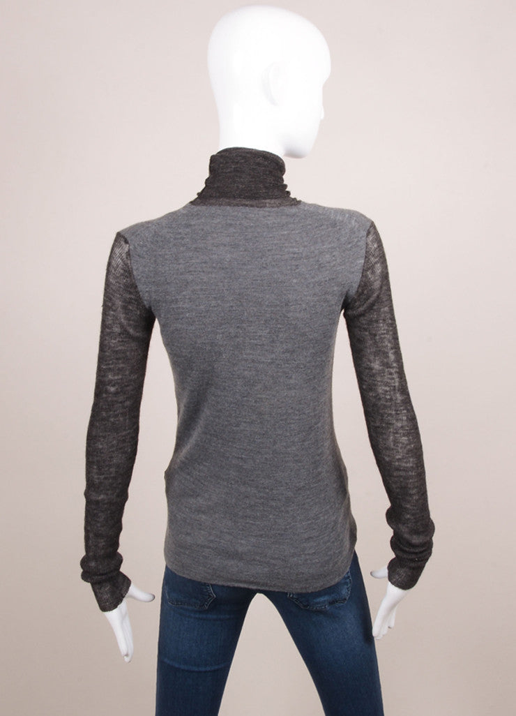 Celine Charcoal Grey Colorblock Wool Blend Turtleneck Sweater Backview