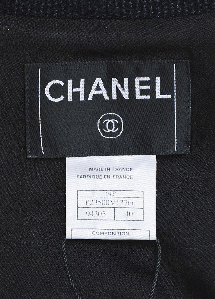 Chanel Black Wool and Silk Tweed Frayed Trim 'CC' Button Blazer Jacket Brand