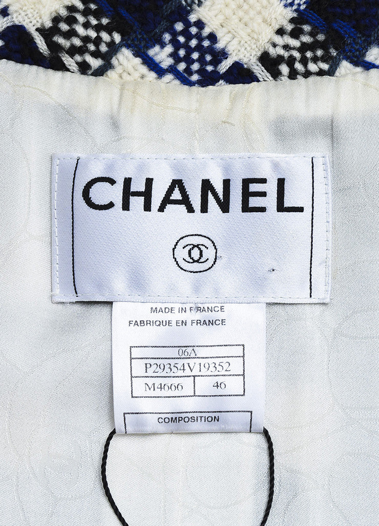 Chanel Cream, Black, and Blue Wool Knit Faux Pearl Embellished Jacket Brand