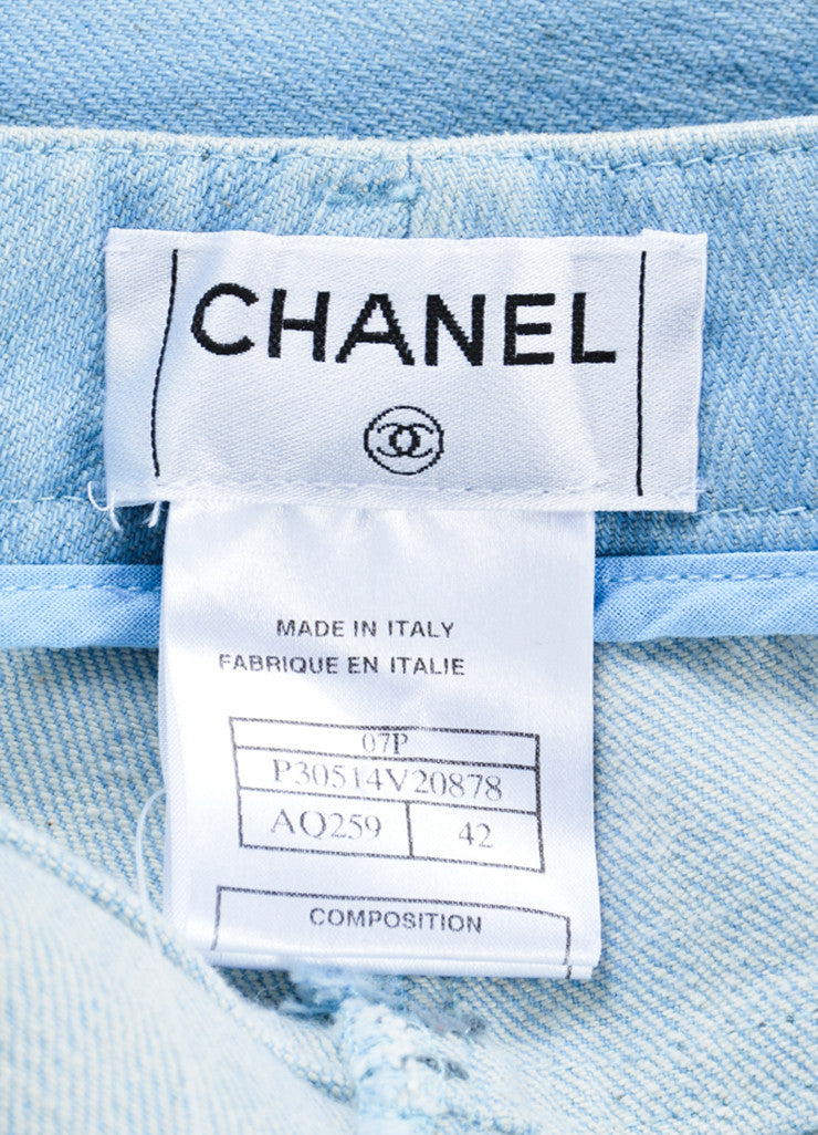 Chanel  Light Blue Wash Denim Pocket Boot Cut Jeans Brand