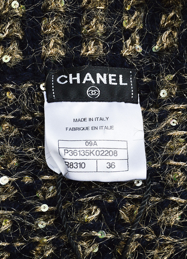 Chanel Gold and Navy Metallic Woven Cashmere Sequin Jacket Brand