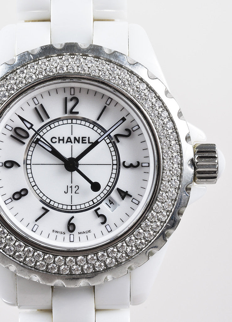 "Chanel White Ceramic Diamond Bezel ""J12"" Quartz Bracelet Watch Detail"