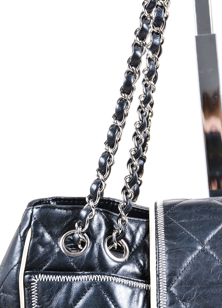 Chanel Black and Cream Quilted Leather East West Mademoiselle Tote Bag Detail 2