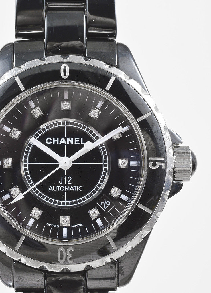 "Chanel Black Ceramic Steel Diamond Accent ""J12"" Automatic Watch Detail"