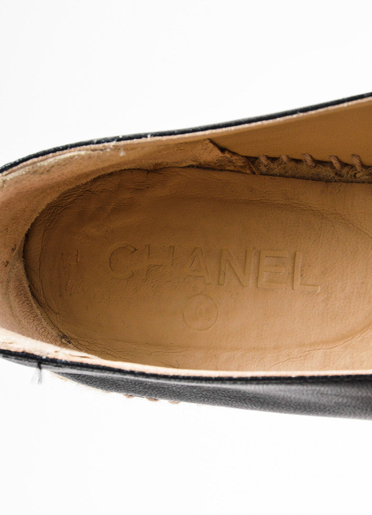 Chanel Black and Beige Leather Raffia Cap Toe 'CC' Logo Slip On Espadrilles Brand