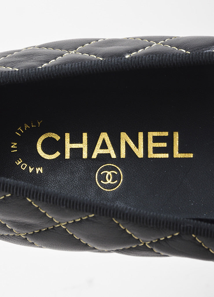 Chanel Black Leather Quilted Gold Tone Stitched 'CC' Cap Toe Ballet Flats Brand