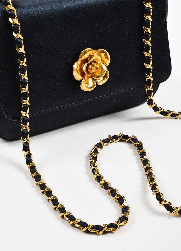 Black Chanel Satin Gold Toned Flower Chain Strap Shoulder Bag Detail 2