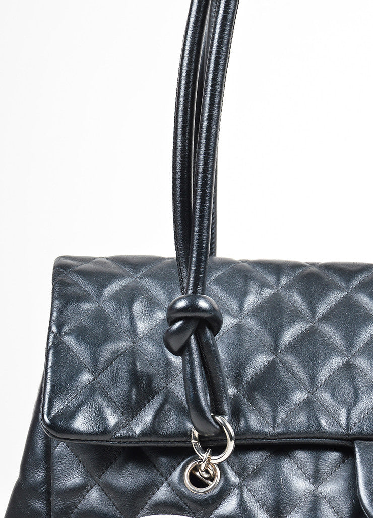 "Black and White Chanel Quilted Leather 'CC' ""Ligne Cambon"" Flap Bag Detail 2"