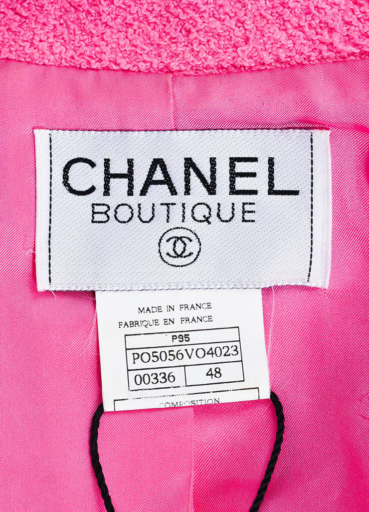 Chanel Bubblegum Pink Pulled Tweed Woven Trim Notch Lapel Jacket Brand