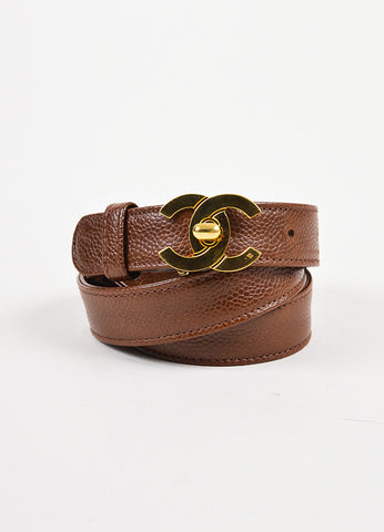Chanel Brown Leather 'CC' Logo Belt front