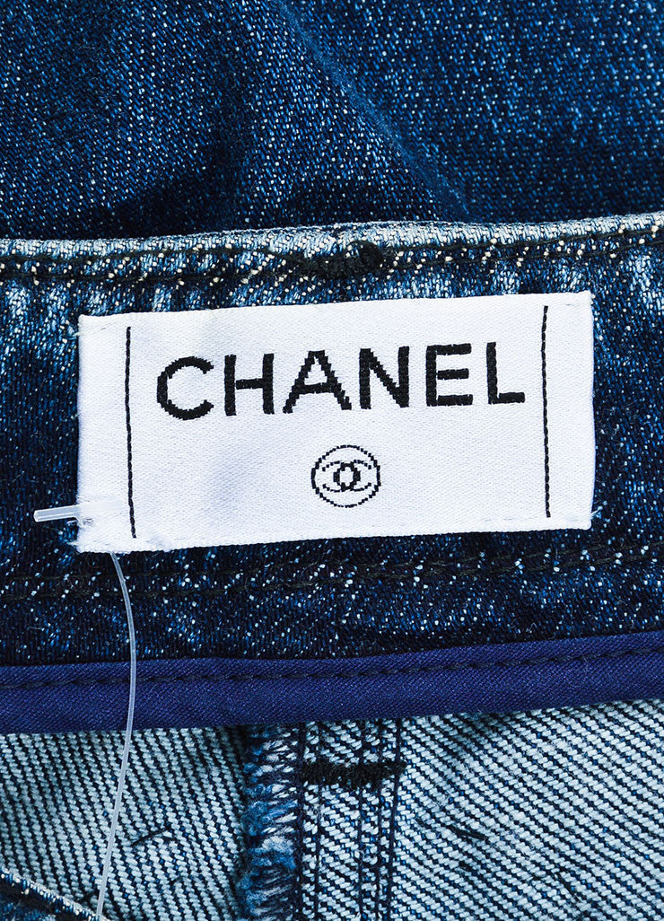 Chanel Denim Blue Top Stitched Knee Four Pocket Straight Leg Jeans Brand
