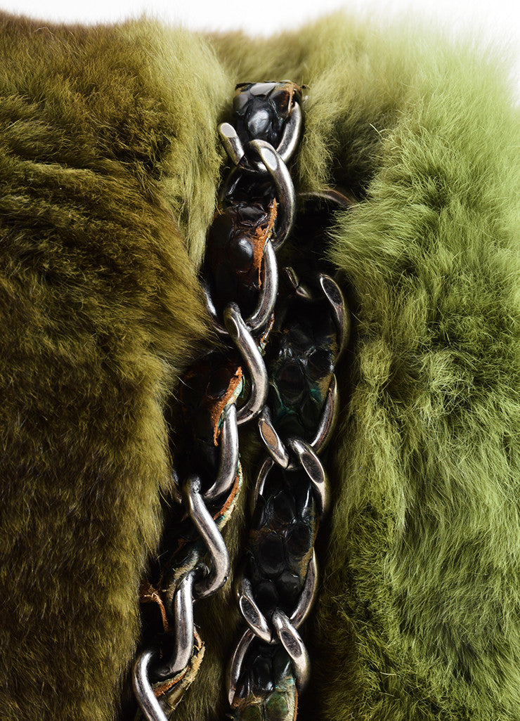 Chanel Green and Brown Chinchilla Fur and Python Leather Jumbo Classic Flap Bag Detail 2