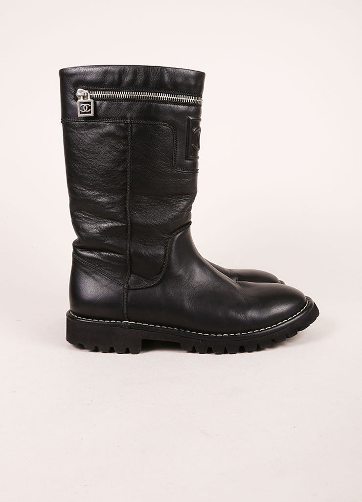 "Chanel Black Zip Pocket ""CC"" Leather Moto Boots Sideview"